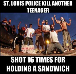 ferguson michael brown vonderrick myers shot 16 times sandwich st louis police